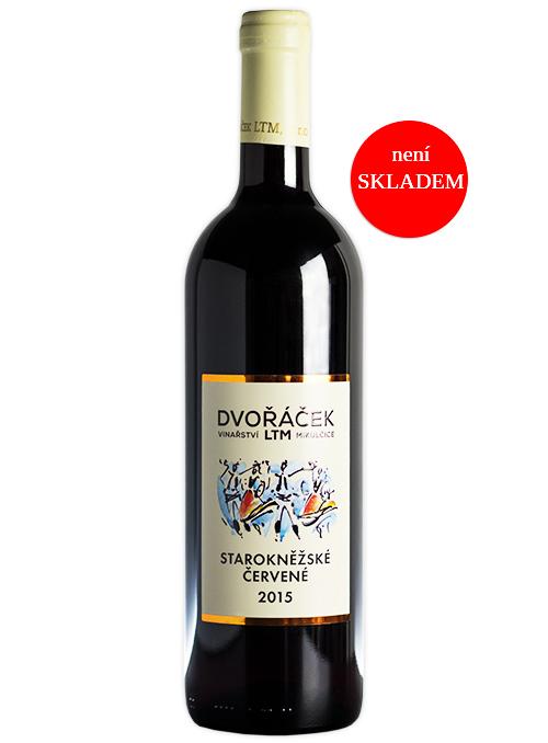 Starokněžské červené, jakostní známkové víno, suché, 2015